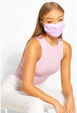 Lilac purple Woman Script Fashion Face Mask