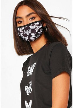 Black Butterfly Fashion Face Mask
