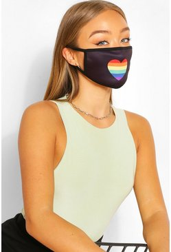 Rainbow Heart Fashion Face Mask , Black