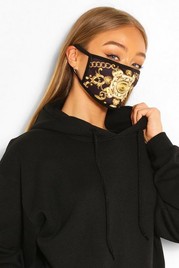 Gold Chain Print Fashion Face Mask