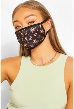 Black Ditsy Print Fashion Face Mask