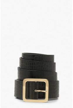 Black Croc Pu Square Buckle Boyfriend Belt