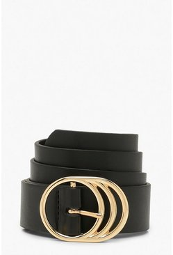 Black Triple Ring Detail Boyfriend Belt