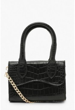 Black Croc Mini Structured Handle Cross Body Bag