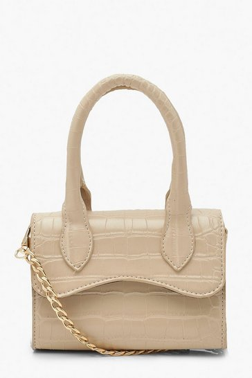 Cream white Croc Mini Structured Handle Cross Body Bag