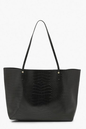 Black Croc Pu Soft Tote Shopper Bag