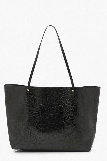 Black Croc Pu Soft Tote Shopper Bag