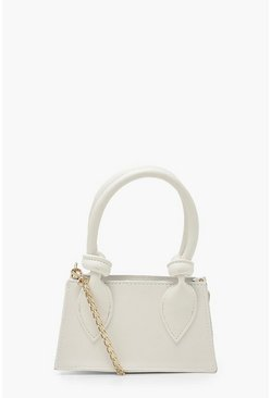 Wit white Mini Crossbody Tas Met Geknoopte Hengsel