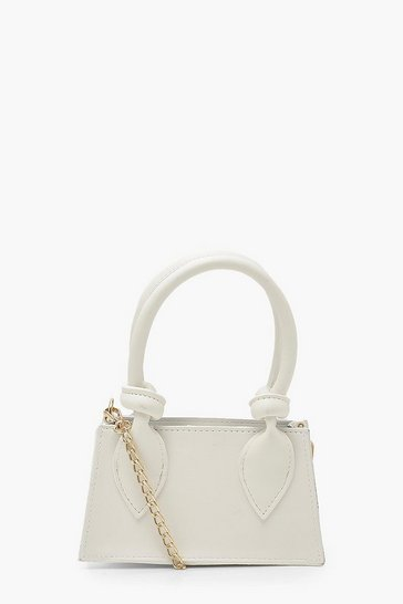 White Knotted Detail Handle Mini Cross Body Bag