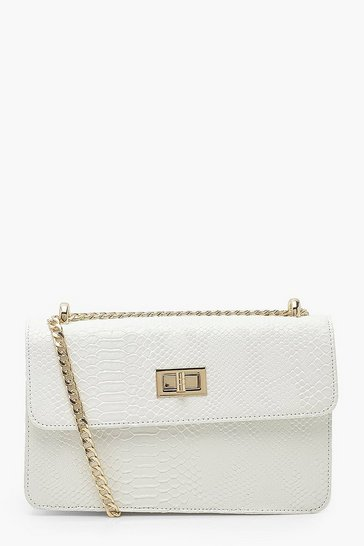White Snake Pu Twist Box Cross Body Bag