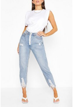 Mid blue blue Ripped Fray Hem Straight Leg Jean