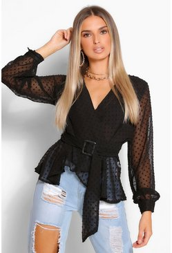 Black Dobby chiffon belted wrap blouse