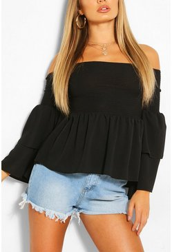Black Woven off the shoulder flared sleeve top