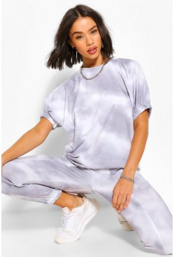 Grey TIE DYE PUFF SLEEVE SWEAT AND JOGEGR SET