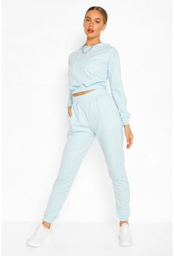 Light blue blue Crop Hoodie And High Waist Jogger Tracksuit