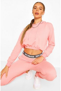 Light pink pink Crop Hoodie And High Waist Jogger Tracksuit
