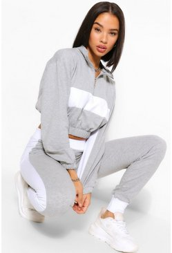 Grey COLOURBLOCK PANEL DETAIL TRACKSUIT