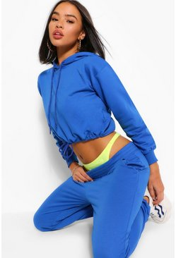 Blue CROP DRAWCORD SWEAT AND JOGGER TRAKCSUIT