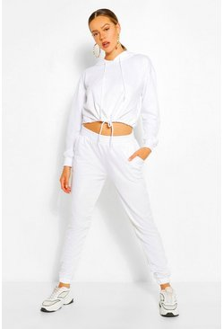 White CROP DRAWCORD SWEAT AND JOGGER TRAKCSUIT