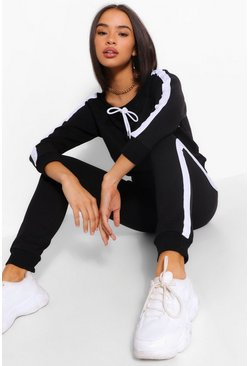 Black OFF THE SHOULDER STRIPE DETAIL TRACKSUIT