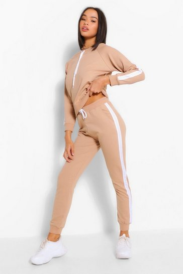Taupe OFF THE SHOULDER STRIPE DETAIL TRACKSUIT