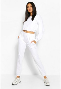 White Crop Sweatshirt and Jogger Tracksuit