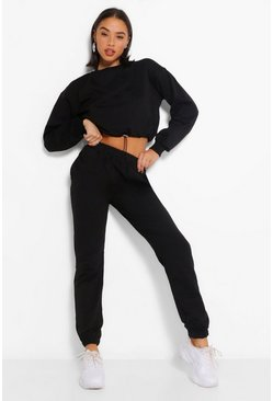 Black Crop Sweatshirt and Jogger Tracksuit
