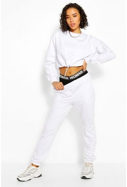 White Crop Sweatshirt And Joggers Tracksuit
