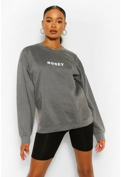 Charcoal grey Honey Slogan Washed Sweatshirt