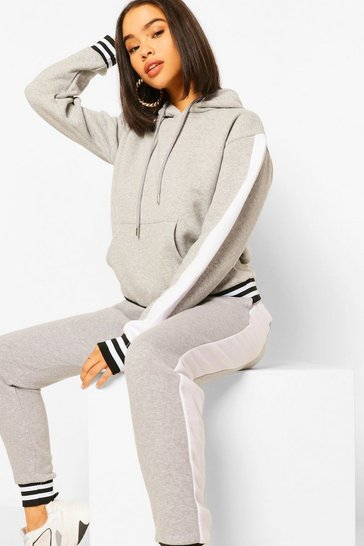 Grey marl Side Panel Contrast Rib Hooded Tracksuit
