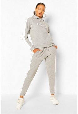 Grey marl grey Contrast Panel Tracksuit With Woman Embroidery