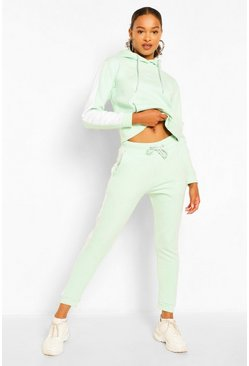 Sage green Contrast Panel Tracksuit With Woman Embroidery