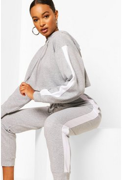 Grey marl grey Contrast Panelled Crop Hooded Tracksuit