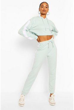 Light blue blue Contrast Panelled Crop Hooded Tracksuit
