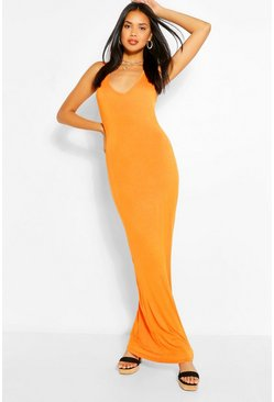 Orange V Neck Sleeveless Maxi Dress