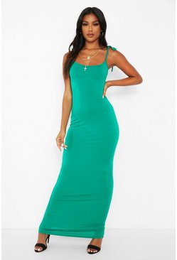 Green Tie Strap Maxi Dress