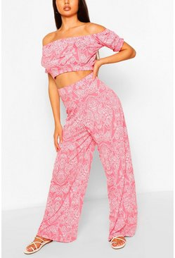 Coral pink Paisley Print Bardot Top & Wide Leg Trouser Co-ord