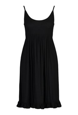 Black Strappy Tiered Smock Dress