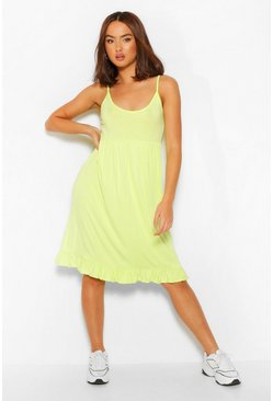 Lime green Strappy Tiered Smock Dress