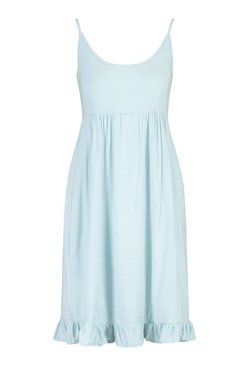 Pale blue Strappy Tiered Smock Dress