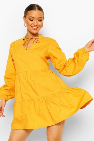 Mustard yellow Cotton Tie Neck Tiered Smock Dress