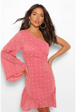 Blush pink Dobby One Shoulder Flared Sleeve Mini Dress