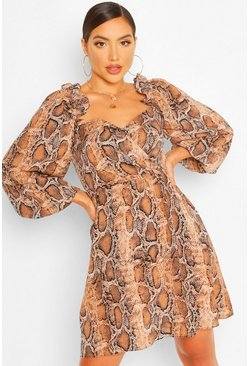 Brown Snake Print Off The Shoulder Smock Dress