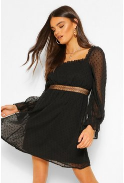 Black Dobby Square Neck Lace Detail Skater Dress