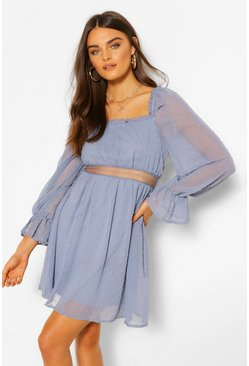 Blue Dobby Square Neck Lace Detail Skater Dress