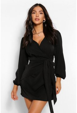 Black Long Sleeve Wrap Shift Dress