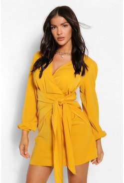 Mustard yellow Long Sleeve Wrap Shift Dress
