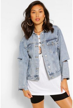 Mid blue blue Ripped Detail Denim Jacket