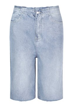 Mid blue Raw Hem Longline Denim Short