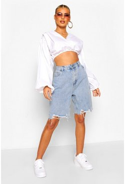 Mid blue blue Distressed Longline Denim Short